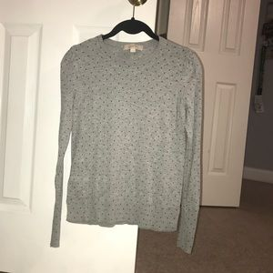 XS Women's Gray and Black Poke-a-dot Sweater